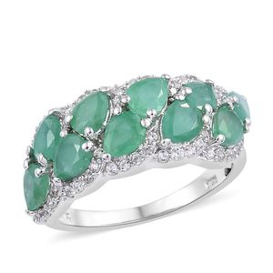 Socoto Emerald, Cambodian Zircon Ring in Platinum Over Sterling Silver (Size 8.0) 3.32 ctw