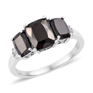 Silver Shungite, Diamond (0.07 ct) Ring in Platinum Over Sterling Silver (Size 10.0) 2.49 ctw