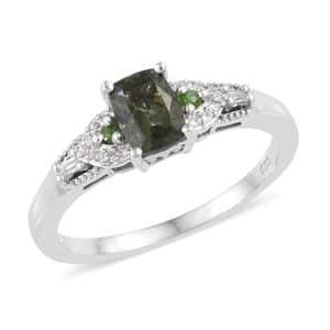 Bohemian Moldavite, Multi Gemstone Ring in Platinum Over Sterling Silver (Size 8.0) 0.88 ctw