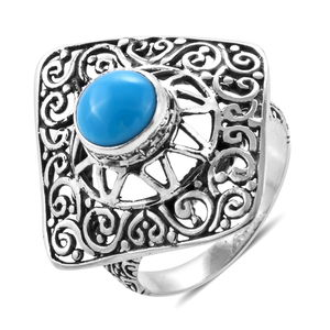Bali Legacy Arizona Sleeping Beauty Turquoise Ring in Sterling Silver (Size 5.0) 1.71 ctw