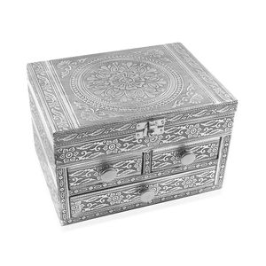 Oxidized Aluminium Mandala Embossed Grand 3 Drawer Jewelry Box (8x6x5 in)