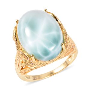 Larimar, Multi Gemstone Ring in Vermeil YG Over Sterling Silver (Size 9.0) 18.40 ctw
