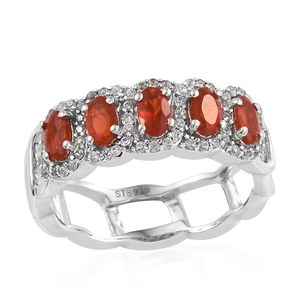 Crimson Fire Opal, Cambodian Zircon Ring in Platinum Over Sterling Silver (Size 8.0) 1.29 ctw