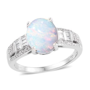Ethiopian Welo Opal, Cambodian Zircon Ring in Platinum Over Sterling Silver (Size 10.0) 3.25 ctw