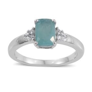 Grandidierite, Cambodian Zircon Ring in Platinum Over Sterling Silver (Size 8.0) 0.92 ctw