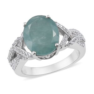 Grandidierite, Cambodian Zircon Ring in Platinum Over Sterling Silver (Size 10.0) 5.23 ctw