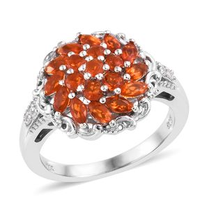 Crimson Fire Opal, Cambodian Zircon Ring in Platinum Over Sterling Silver (Size 5.0) 1.04 ctw
