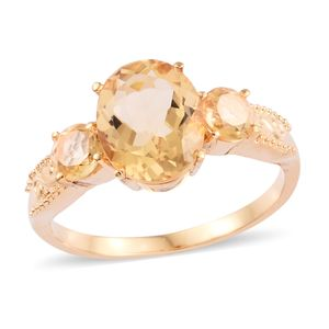 Brazilian Citrine Ring in ION Plated YG Stainless Steel (Size 10.0) 4.25 ctw