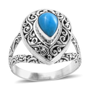 Bali Legacy Arizona Sleeping Beauty Turquoise Ring in Sterling Silver (Size 7.0) 1.02 ctw