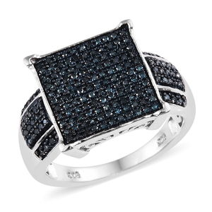 155ff1111 Blue Diamond (IR) Ring in Blue Rhodium & Platinum Over Sterling Silver (Size