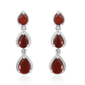 Crimson Fire Opal Earrings in Platinum Over Sterling Silver 1.83 ctw
