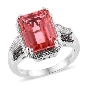 Living Coral Quartz, Multi Gemstone Ring in Platinum Over Sterling Silver (Size 8.0) 9.02 ctw