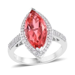 Living Coral Quartz, Cambodian Zircon Ring in Platinum Over Sterling Silver (Size 6.0) 7.21 ctw