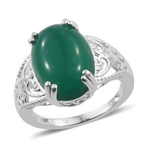 Green Onyx Ring in Sterling Silver (Size 8.0) 6.00 ctw