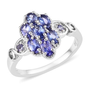 Tanzanite, Zircon Ring in Platinum Over Sterling Silver (Size 5.0) 2.05 ctw