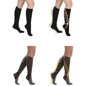 Cotton Thigh High Compression Socks Half USA Half Canada Flag Tube Socks