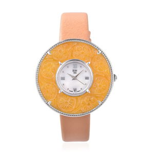 EON 1962 Burmese Honey Jade Swiss Movement Watch with Honey Genuine Leather Band and Stainless Steel Back 30.00 ctw