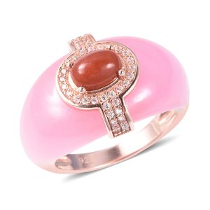 Burmese Rose and Red Jade, White Zircon Ring in Vermeil RG Over Sterling Silver (Size 5.0) 26.55 ctw