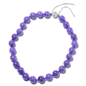 Burmese Purple Jade Beaded Bolo Necklace in Sterling Silver (18-24 in) (8 g) 922.50 ctw