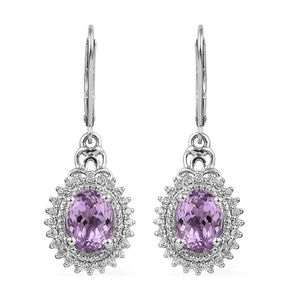 AA Premium Martha Rocha Kunzite, Zircon Lever Back Earrings in Platinum Over Sterling Silver 5.75 ctw