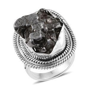 Artisan Crafted Marvelous Meteorite Ring in Sterling Silver (Size 5.0) (Avg. 7.26 g)