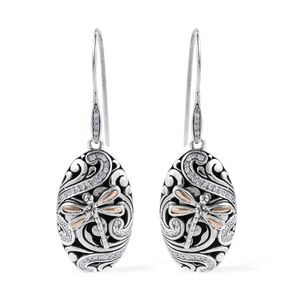 Bali Legacy Diamond Dragonfly Earrings in 18K Yellow Gold & Sterling Silver 0.50 ctw
