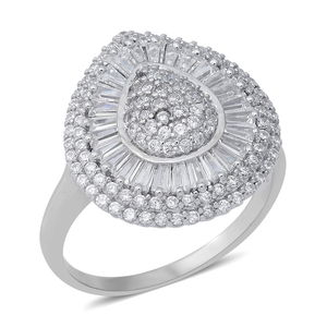 LUSTRO STELLA CZ Ring in Sterling Silver (Size 7.0) 2.47 ctw