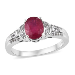 Niassa Ruby, White Topaz Ring in Platinum Over Sterling Silver (Size 7.0) 3.06 ctw