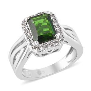 Russian Diopside, White Zircon Ring in Sterling Silver (Size 5.0) 1.93 ctw