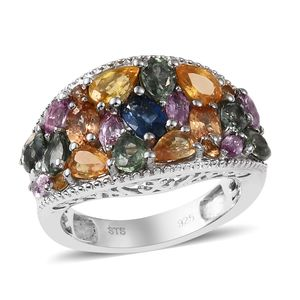 Multi Sapphire Ring in Platinum Over Sterling Silver (Size 7.0) 3.75 ctw