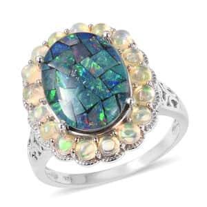 Australian Mosaic Opal, Ethiopian Welo Opal Ring in Sterling Silver (Size 5.0) (Avg. 7.80 g) 7.05 ctw