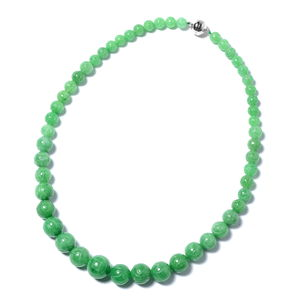 Burmese Green Jade Necklace (20 in) in Sterling Silver 522.50 ctw
