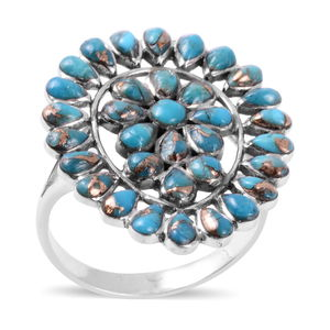 Santa Fe Style Mojave Turquoise Ring in Sterling Silver (Size 10.0) 0.85 ctw