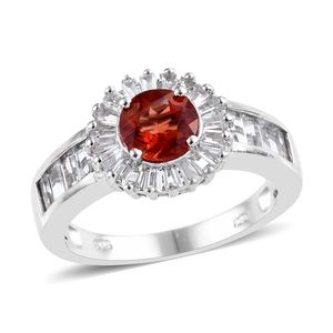 Red Andesine, White Topaz Ring in Platinum Over Sterling Silver (Size 6.0) 3.46 ctw