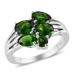 Russian Diopside Ring in Platinum Over Sterling Silver (Size 6.0) 3.37 ctw
