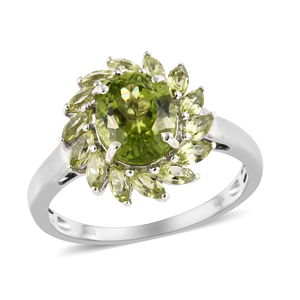 Hebei Peridot Ring in Platinum Over Sterling Silver (Size 9.0) 4.30 ctw