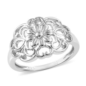 Platinum Over Sterling Silver Ring (Size 10.0) (Avg. 2.71 g)