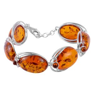 Artisan Crafted Baltic Amber Bracelet in Sterling Silver (7.50 In) (32.5 g)