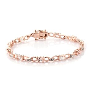 AA Premium Marropino Morganite, Zircon Bracelet in Vermeil RG Over Sterling Silver (7.25 In) (7.25 g) 3.38 ctw