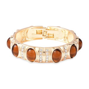 Simulated Amber, Austrian Crystal Bangle Bracelet in Goldtone