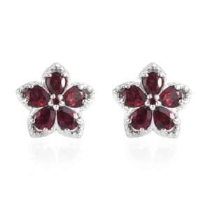 1.85 ctw Anthill Garnet Flower Stud Earrings in Platinum Over Sterling Silver