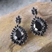 Thai Black Spinel Platinum Over Sterling Silver Earrings TGW 32.10 Cts.
