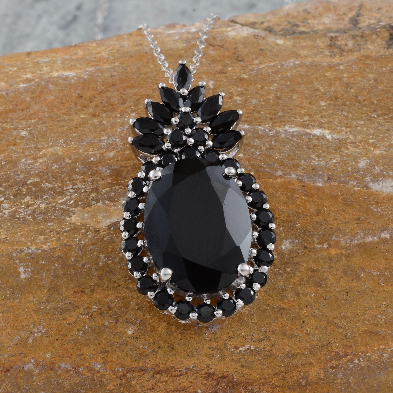 Thai Black Spinel (Ovl 10.50 Ct) Pendant in Platinum Overlay Sterling Silver Nickel Free With Stainless Steel Chain (20 in) TGW 13.10 Cts.