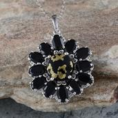 Goldenite, Thai Black Spinel Platinum Over Sterling Silver Pendant With Chain (20 in) TGW 9.65 Cts.