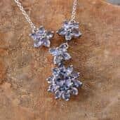 Bondi Blue Tanzanite Platinum Over Sterling Silver Necklace (18 in) TGW 5.50 Cts.