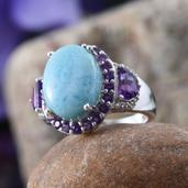 Larimar, Amethyst, White Topaz Platinum Over Sterling Silver Stunning Style Ring (Size 7.0) TGW 13.170 cts.