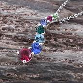 Simulated Ruby Sterling Silver Pendant With Stainless Steel Chain (20 in) Made with SWAROVSKI Multi Color Crystal TGW 2.10 cts.
