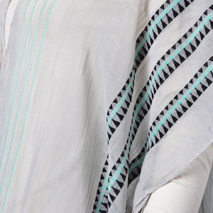 Gray 100% Viscose Stripped Tribal Pattern Kimono (One Size)