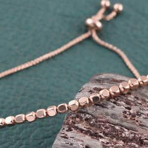 14K RG Over Sterling Silver Beaded Bolo Bracelet (Adjustable) (3.3 g)