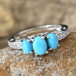 Arizona Sleeping Beauty Turquoise, Cambodian Zircon Mounted Swan Love Ring in Platinum Over Sterling Silver (Size 6.0) 1.96 ctw